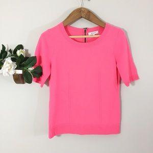 Milly Merino Wool Hot Pink Exposed Zipper Sweater